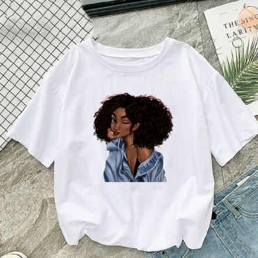 Lovely Casual Print White Plus Size T-shirt