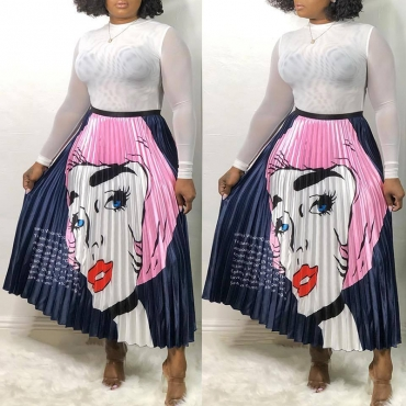 Lovely Stylish Cartoon Print Pink Skirt