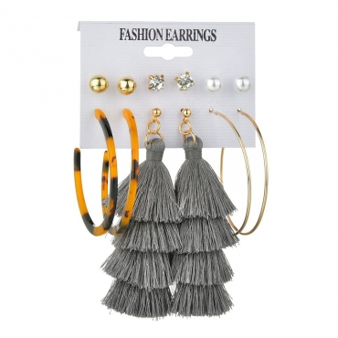 Lovely Stylish Tassel Design Grey Earring