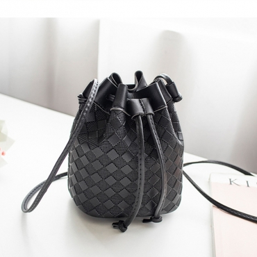 Lovely Trendy Lace-up Black Crossbody Bag