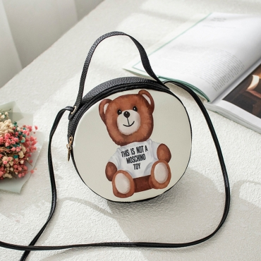Lovely Trendy Cartoon Print Black Crossbody Bag
