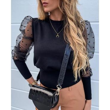 Lovely Trendy Patchwork Black Bodysuit