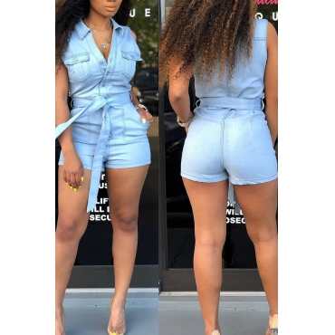 Lovely Trendy Buttons Design Baby Blue One-piece Romper