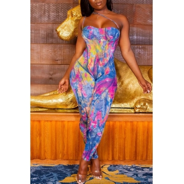 Lovely Trendy Print Multicolor One-piece Jumpsuit