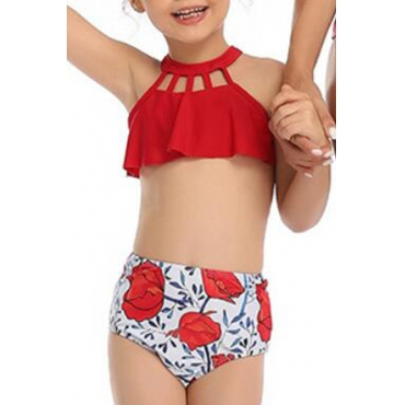 Lovely Hollow-out Red Girl Bathing Suit Two-piece Swimsuit