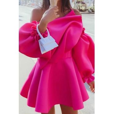 Lovely Leisure Flounce Design Rose Red Mini Dress