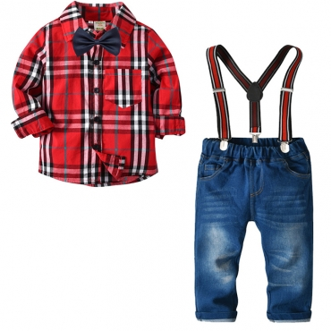 Lovely Stylish Grid Print Red Boy Two-piece Pants Set