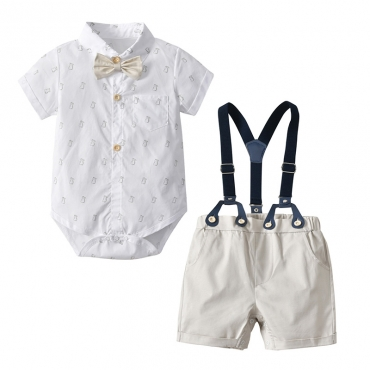 Lovely Trendy Print White Boy Two-piece Shorts Set