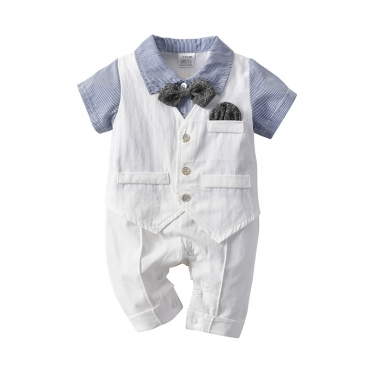 Lovely Trendy Buttons Design Blue Boy Two-piece Shorts Set
