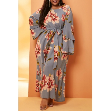 Lovely Leisure Print Grey Ankle Length Plus Size Dress