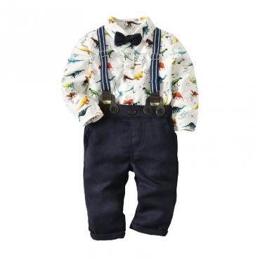 Lovely Casual Print White Boy Two-piece Pants Set