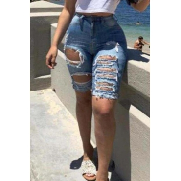 Lovely Trendy High Waist Broken Holes Blue Denim Shorts