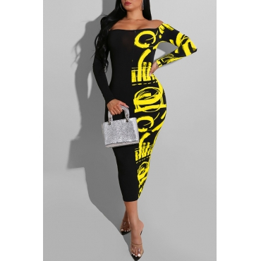 Lovely Casual Dew Shoulder Yellow Mid Calf Dress