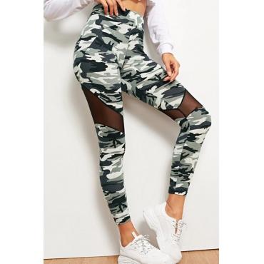 Lovely Sportswear Camo Print Army Green Plus Size Pants