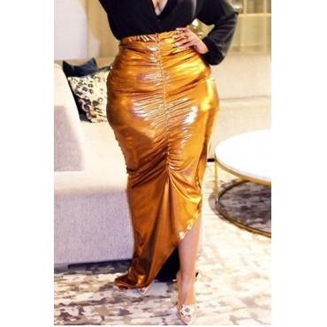 Lovely Trendy Asymmetrical Yellow Plus Size Skirt