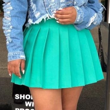 Lovely Sweet Fold Design Cyan Skirt
