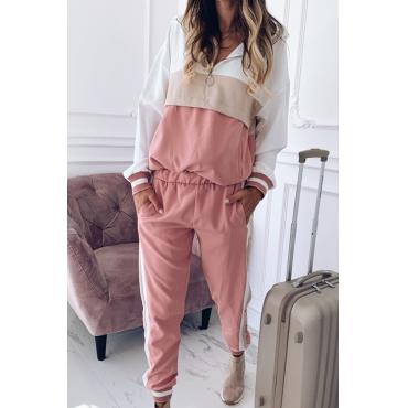 Lovely Stylish Patchwork Pink Loungewear