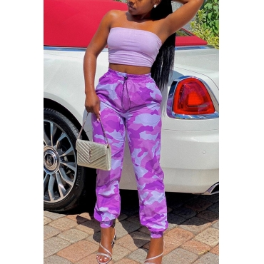 Lovely Casual Camo Print Two-piece Pants Set