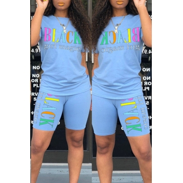 Lovely Leisure Letter Print Baby Blue Two-piece Shorts Set