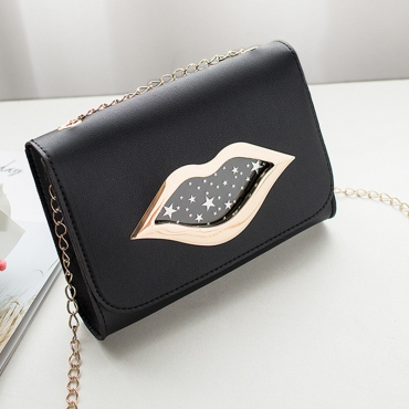 Lovely Stylish Lip Print Black Messenger Bag