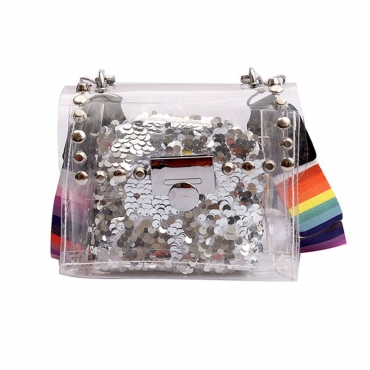 Lovely Chic See-through Silve Messenger Bag