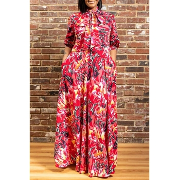 Lovely Trendy Print Red Maxi Plus Size Dress