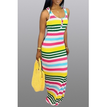 Lovely Leisure Striped Multicolor Maxi Dress