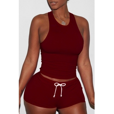 Lovely Casual Sleeveless Wine Red Two-piece Shorts Set
