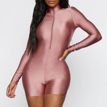 Lovely Sportswear Zipper Design Pink One-piece Romper