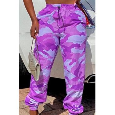 Lovely Leisure Camo Print Purple Pants