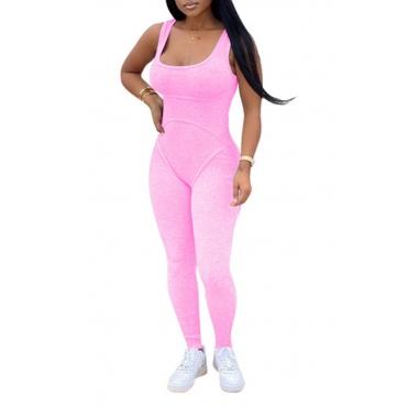 Lovely Sportswear Basic Pink One-piece Jumpsuit