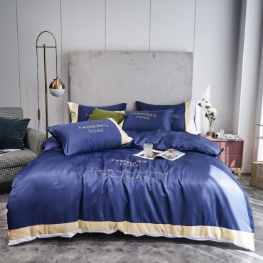 Lovely Cosy Letter Print Royalblue Bedding Set