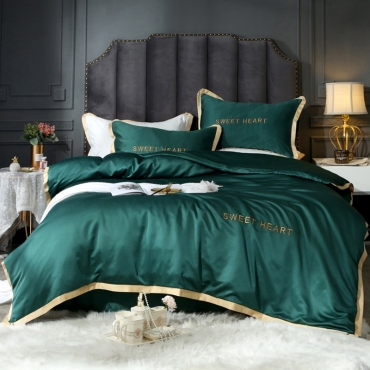 Lovely Cosy Patchwork Blackish Green Bedding Set