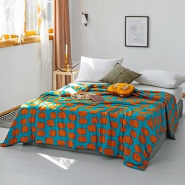 Lovely Cosy Pumpkin Print Deep Blue Blanket
