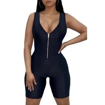 Lovely Sportswear Zipper Design Black One-piece Romper
