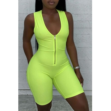 Lovely Sportswear Zipper Design Green One-piece Romper