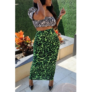 Lovely Stylish Print Green Two-piece Skirt Set
