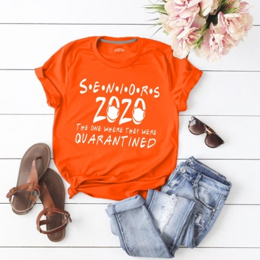 Lovely Leisure O Neck Letter Print Orange T-shirt