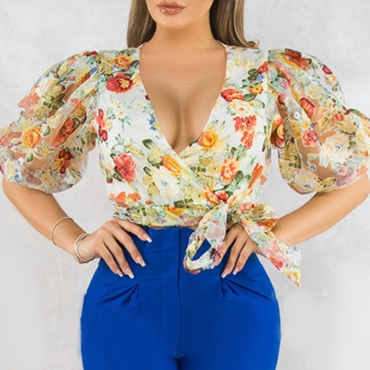Lovely Sweet Floral Print Multicolor Blouse