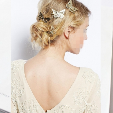 Lovely Trendy Butterflyt Gold Hairpin