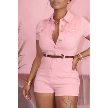 Lovely Stylish Buttons Design Pink One-piece Romper