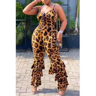Lovely Trendy Leopard Print Plus Size One-piece Jumpsuit