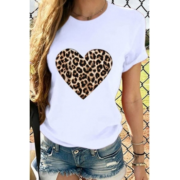 Lovely Casual Heart Print White T-shirt