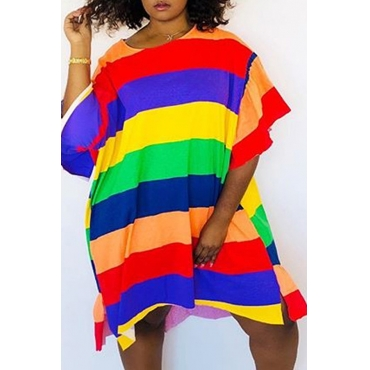 Lovely Casual Striped Multicolor Knee Length T-shirt Dress