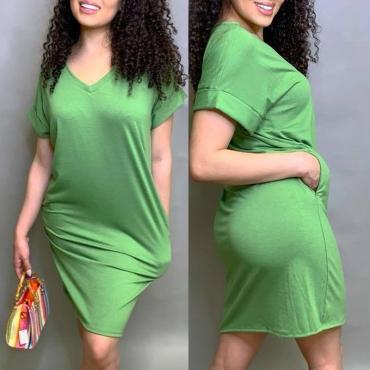 Lovely Leisure V Neck Basic Green Knee Length Dress