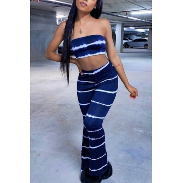 Lovely Sexy Striped Dark Blue Two-piece Pants Set
