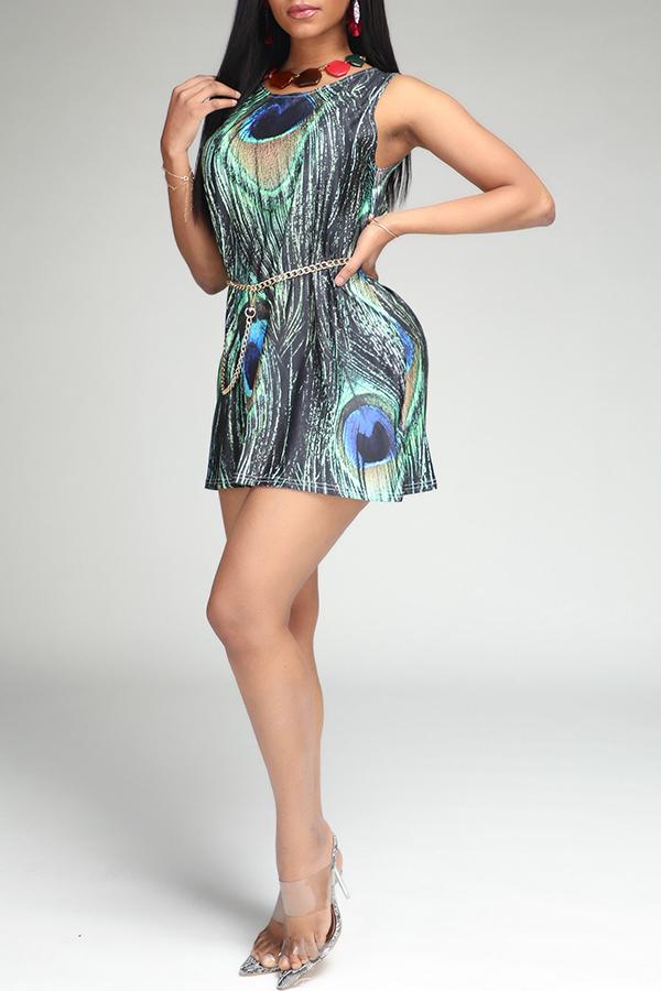 Lovely Trendy Print Green Mini Dress