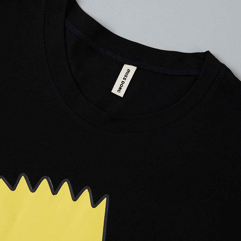 Lovely Casual O Neck Cartoon Print Black T-shirt