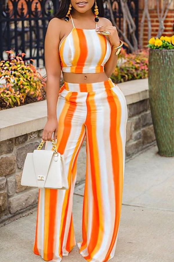 Lovely Bohemian Striped Orange Two-piece Pants Set