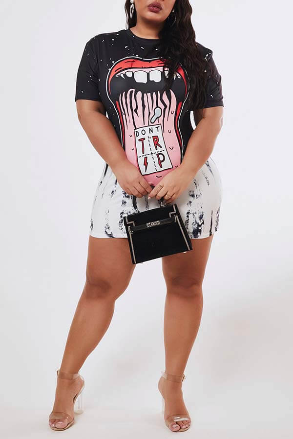 Lovely Leisure O Neck Print Black Mini Plus Size Dress